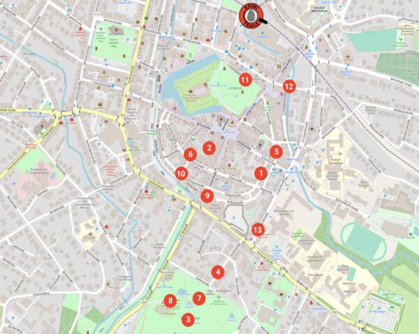 Karte mit den verschiedenen Ermittlungsorten auf dem Krimi-Trail in Detmold
